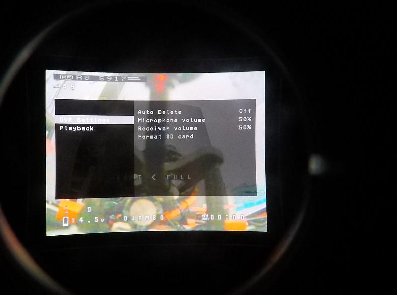 DVR menu Orqa FPV One